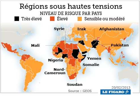 Carte des régions sous hautes tensions