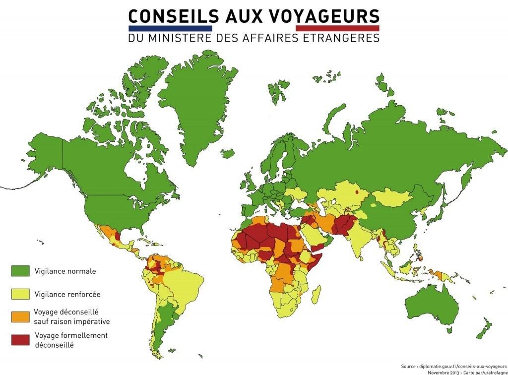 Carte des risques par pays – Ministère des affaires étrangères